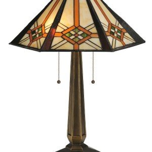 Crosshairs Mission Tiffany Stained Glass Table Lamp