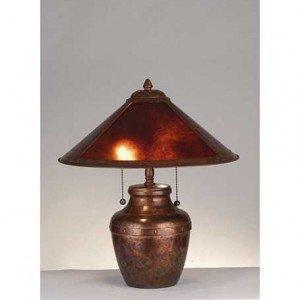 Copper Amber Mica Crock Vase Table Lamp