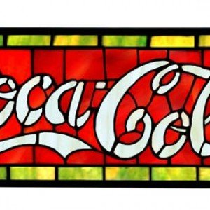Coca Cola Tiffany Stained Glass Window Panel
