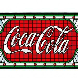 Coca Cola Victorian Web Stained Glass Panel