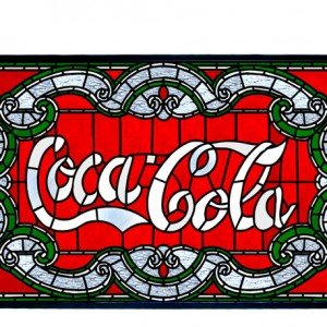 Coca Cola Victorian Tiffany Stained Glass Panel