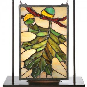 Acorn Leaf Lighted Stained Glass Tabletop Window
