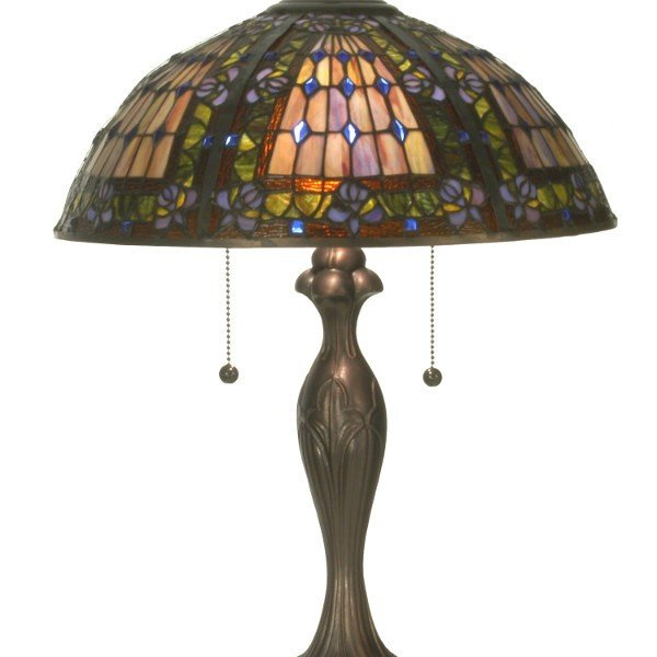 Floral plum fleur de lis table lamp all things tiffany jeweled floral plum fleur de lis tiffany table lamp aloadofball Choice Image