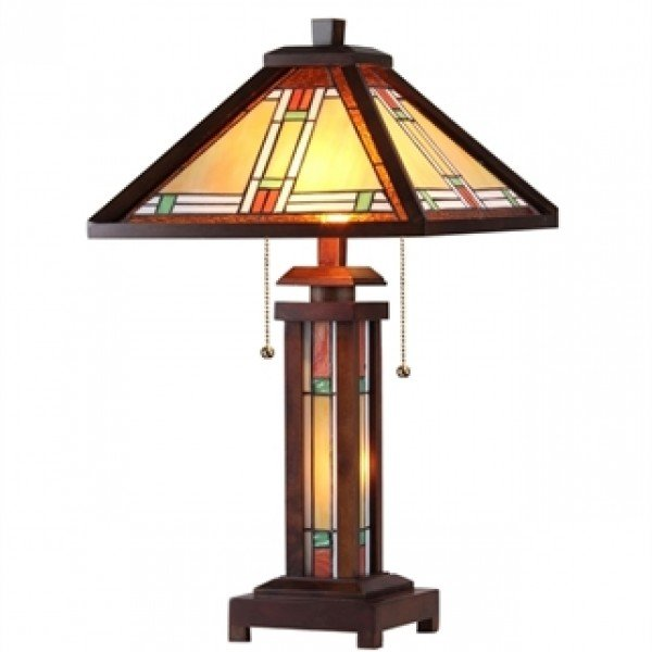 Wood mission tiffany stained glass table lamp all things tiffany mission style tiffany stained glass floor lamp aloadofball Gallery