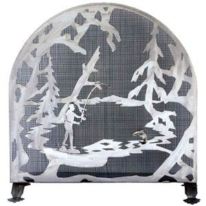 Fly Fishing Tiffany Stained Glass Fireplace Screens