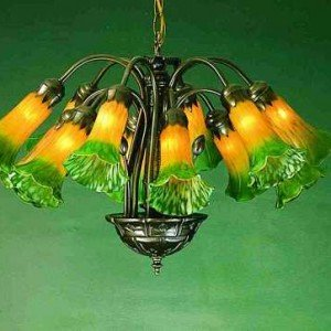 Tiffany style ceiling lights stained glass fixtures for sale all amber green lily tiffany art glass 12 light chandelier aloadofball Image collections