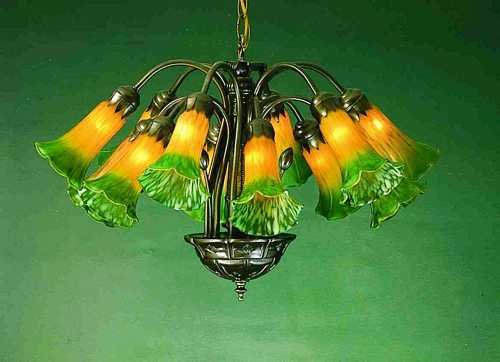 Hanging lily 12 light fixture in amber green all things tiffany amber green lily tiffany stained glass chandelier aloadofball Gallery