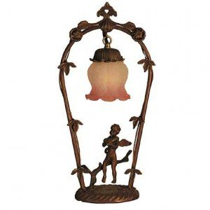 Violin Cherub Melon Flower Novelty Accent Lamp
