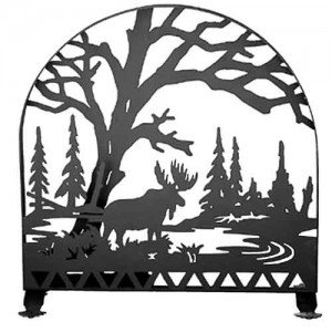 Moose Creek Tiffany Stained Glass Fireplace Screens