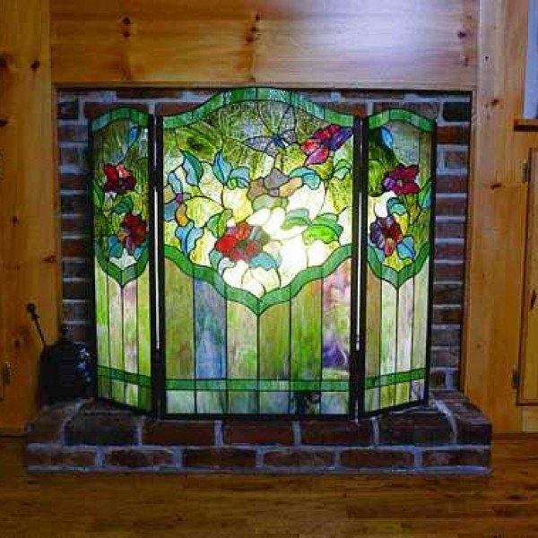 Butterfly Tiffany Stained Glass Fireplace Screen All Things Tiffany
