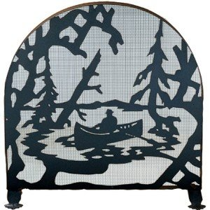 Lake Canoe Tiffany Stained Glass Fireplace Screens