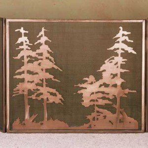 Copper Pines Tiffany Stained Glass Fireplace Screens