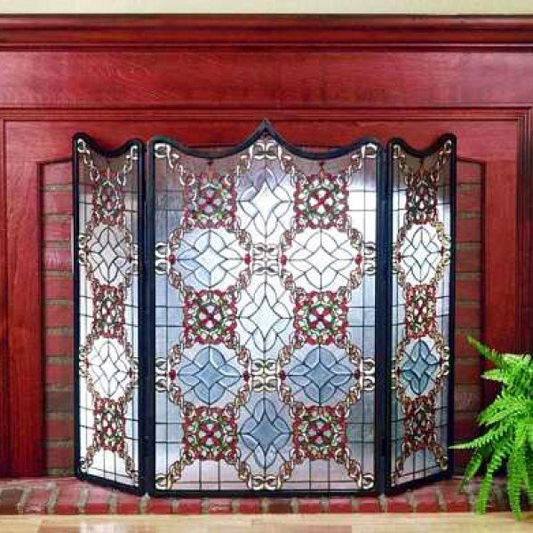 Victorian Beveled Tiffany Stained Glass Fireplace Screen All Things Tiffany