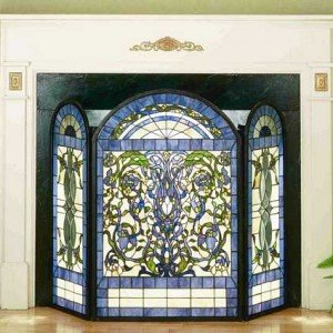 Ribbons Flowers Tiffany Stained Glass Fireplace Screens