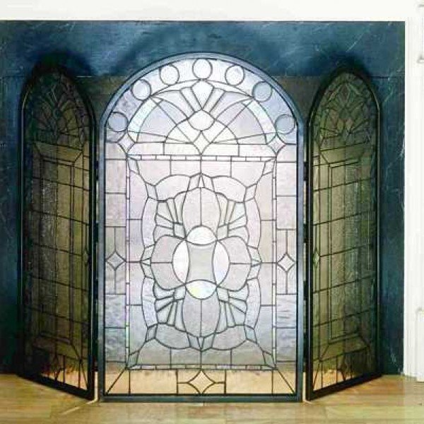 Clear Beveled Tiffany Stained Glass Fireplace Screen All Things Tiffany