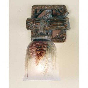 Pine Cone Branch Tiffany Stained Glass Sconce