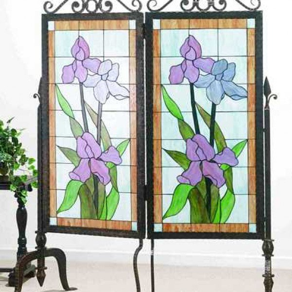 Iris Glass Metal 2 Panel Room Divider All Things Tiffany