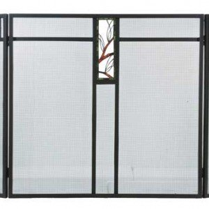 Pine Branch Tiffany Stained Glass Fireplace Screens