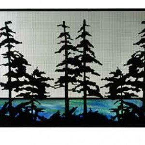 Tall Pines Tiffany Stained Glass Fireplace Screens