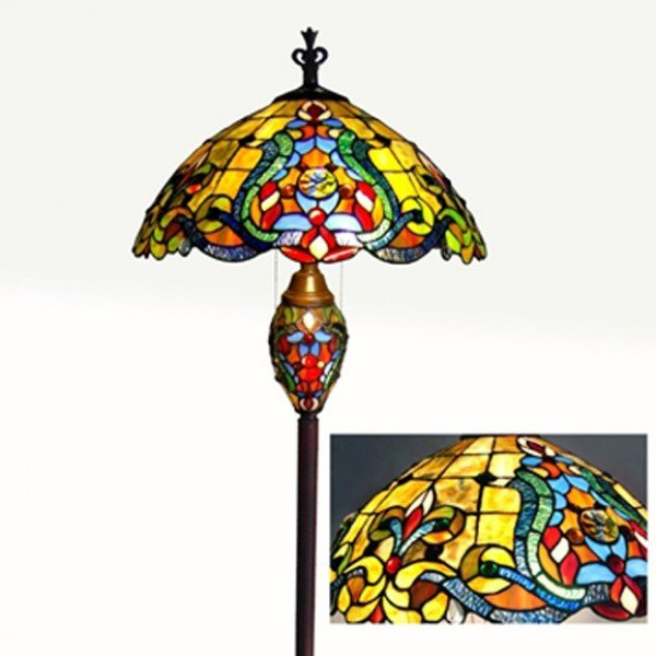 Carlina Victorian Tiffany Stained Glass Double Lit Floor Lamp
