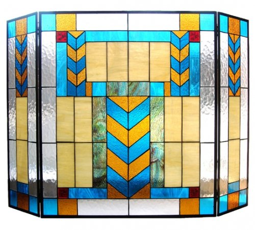 South Western Tiffany Stained Glass Fireplace Screen