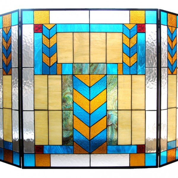 South Western Tiffany Stained Glass Fireplace Screens