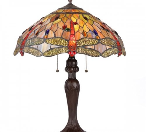 ANISOPTERA PURITY Dragonfly Tiffany Stained Glass 3 Light Table Lamp