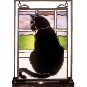 Black Cat Mini Lighted Tabletop Novelty Window