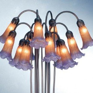 Amber Purple Tiffany Twelve Light Floor Lamp