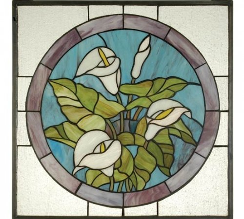 CALLA LILY Tiffany Stained Glass Window Panel