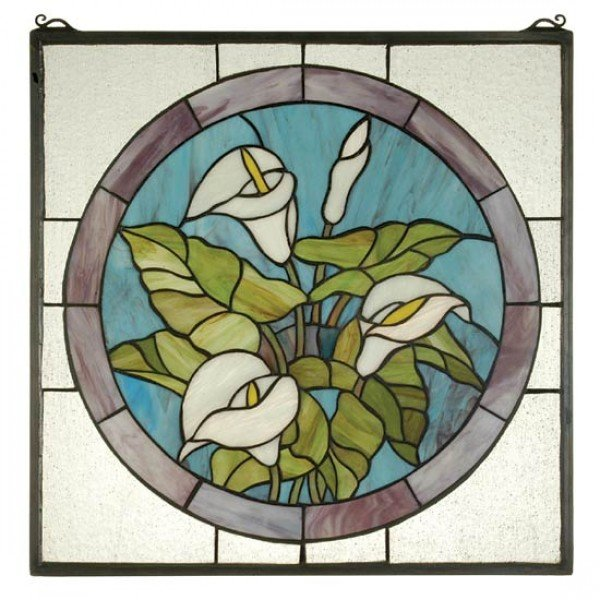 Calla Lilly Tiffany Stained Glass Window Panel