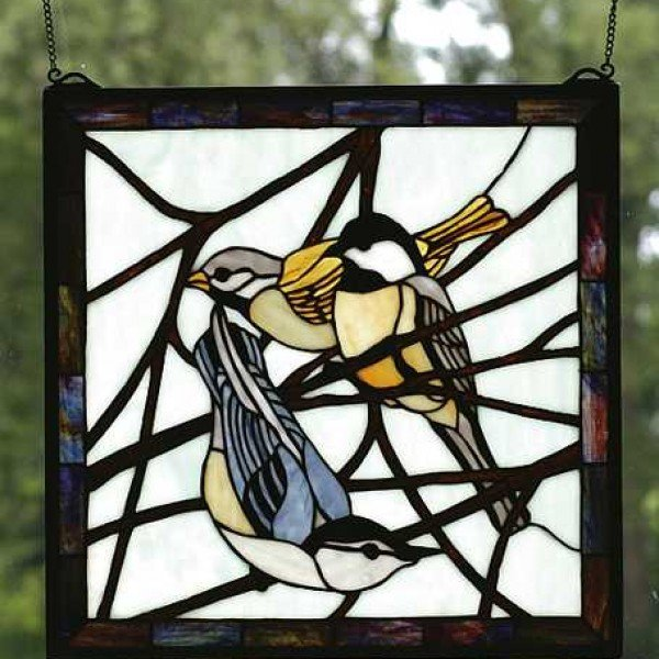 Birds Tiffany Stained Gl Square Window Panel