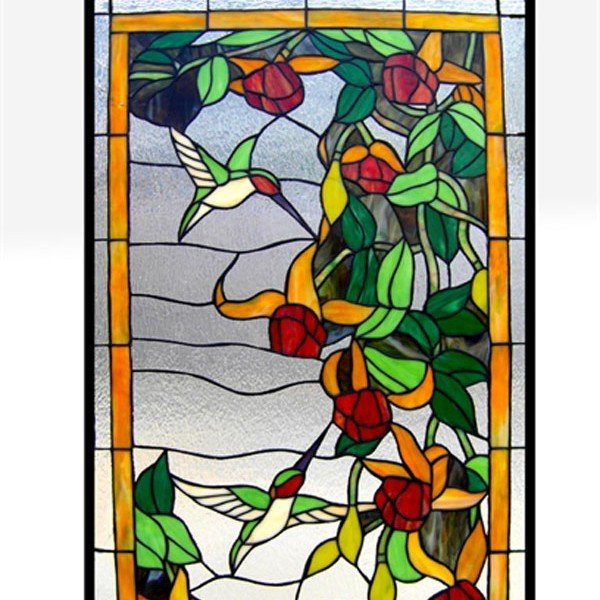 Flower Hummingbirds Tiffany Stained Glass Window Panel