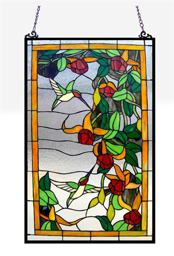 Hummingbirds Tiffany Stained Glass Window Panel