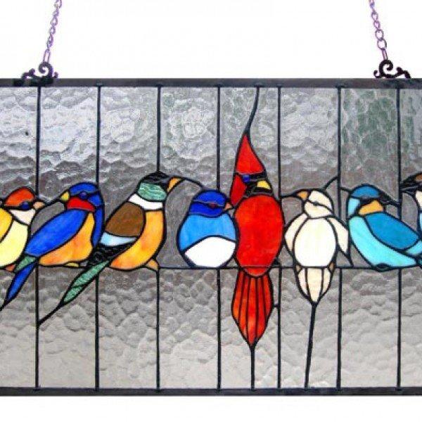 Family Birds Tiffany Stained Glass Window Panel