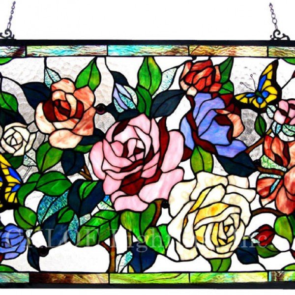 Butterfly Tiffany Stained Glass Roses Window Panel