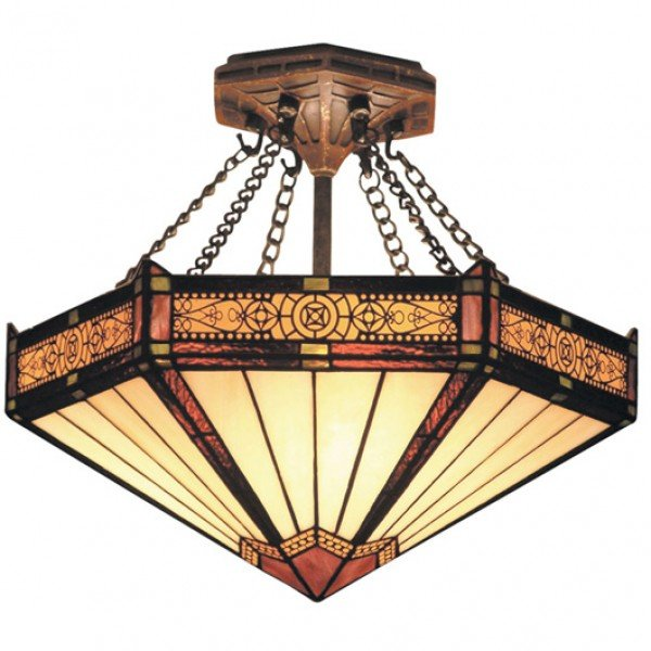 Filigree 3 light semi flush stained glass lamp all things tiffany filigree tiffany stained glass semi flush light aloadofball Choice Image