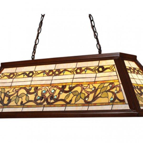 Trileaf Tiffany Stained Gl Billiard Island Light