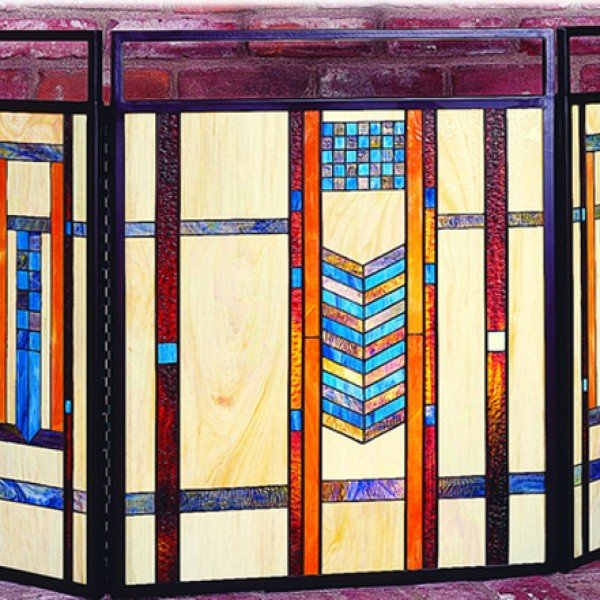 Teal Mission Tiffany Stained Glass Fireplace Screens
