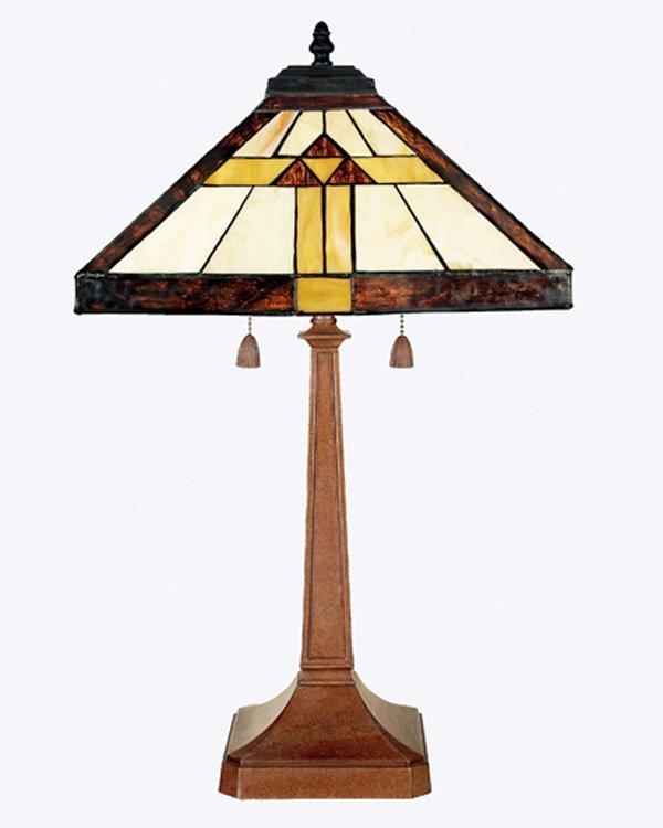 Mission Tiffany Style Stained Glass Table Lamp