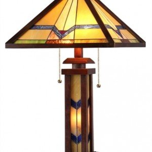 Tiffany Mission Stained Glass Wooden Table Lamp