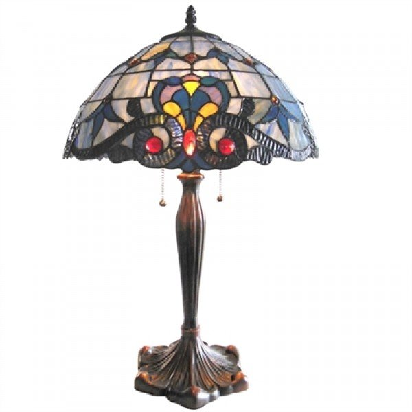 Victorian Style Tiffany Stained Glass Table Lamp