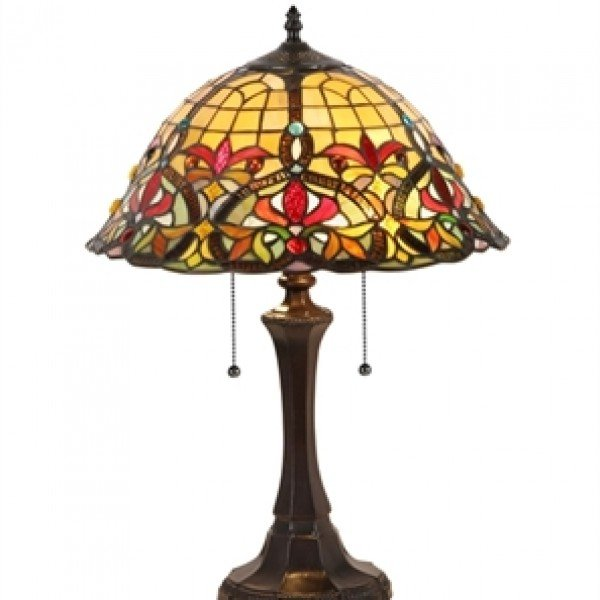 Superbe Tiffany Stained Glass Victorian Style Table Lamp