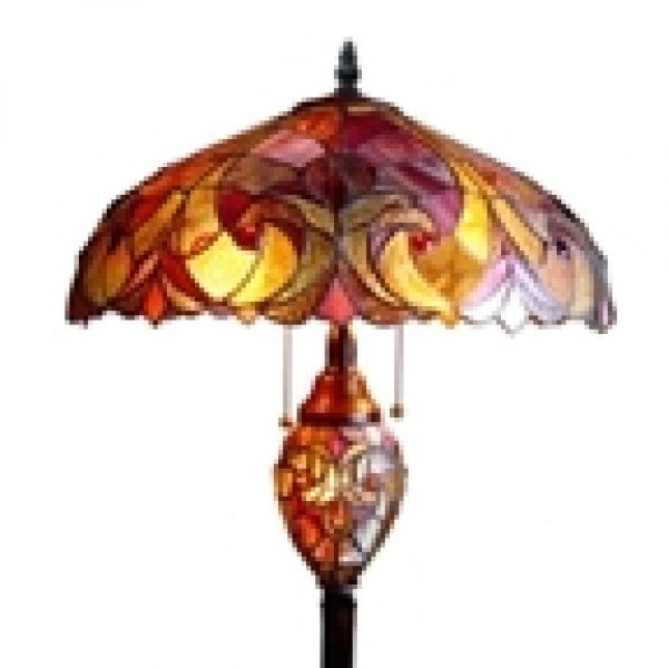 LIAISON Ruby & Gold Victorian Tiffany Stained Glass 3 Light Floor ...