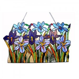 Tiffany Stained Glass Iris Garden Window Panel