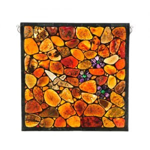 Agata Hummingbird Tiffany Agate Rocks Window Panel