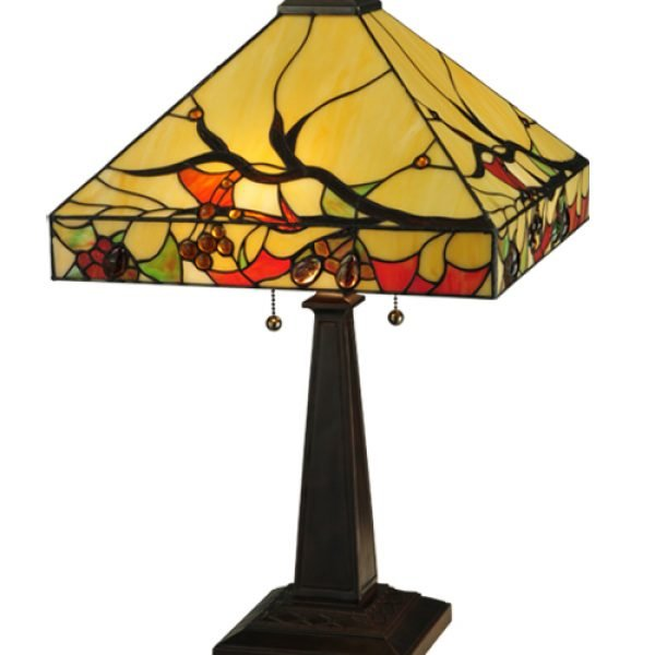Woodland Berries Tiffany Stained Glass Table Lamp