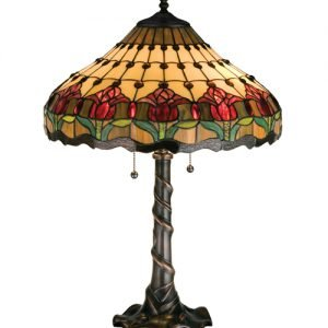 Tiffany style stained glass table desk lamps all things tiffany colonial tulip large tiffany stained glass table lamp aloadofball Image collections