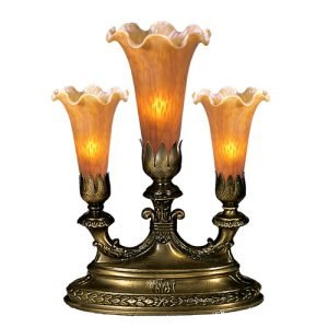 Amber Lily Mantelabra Favrile Design Accent Lamps